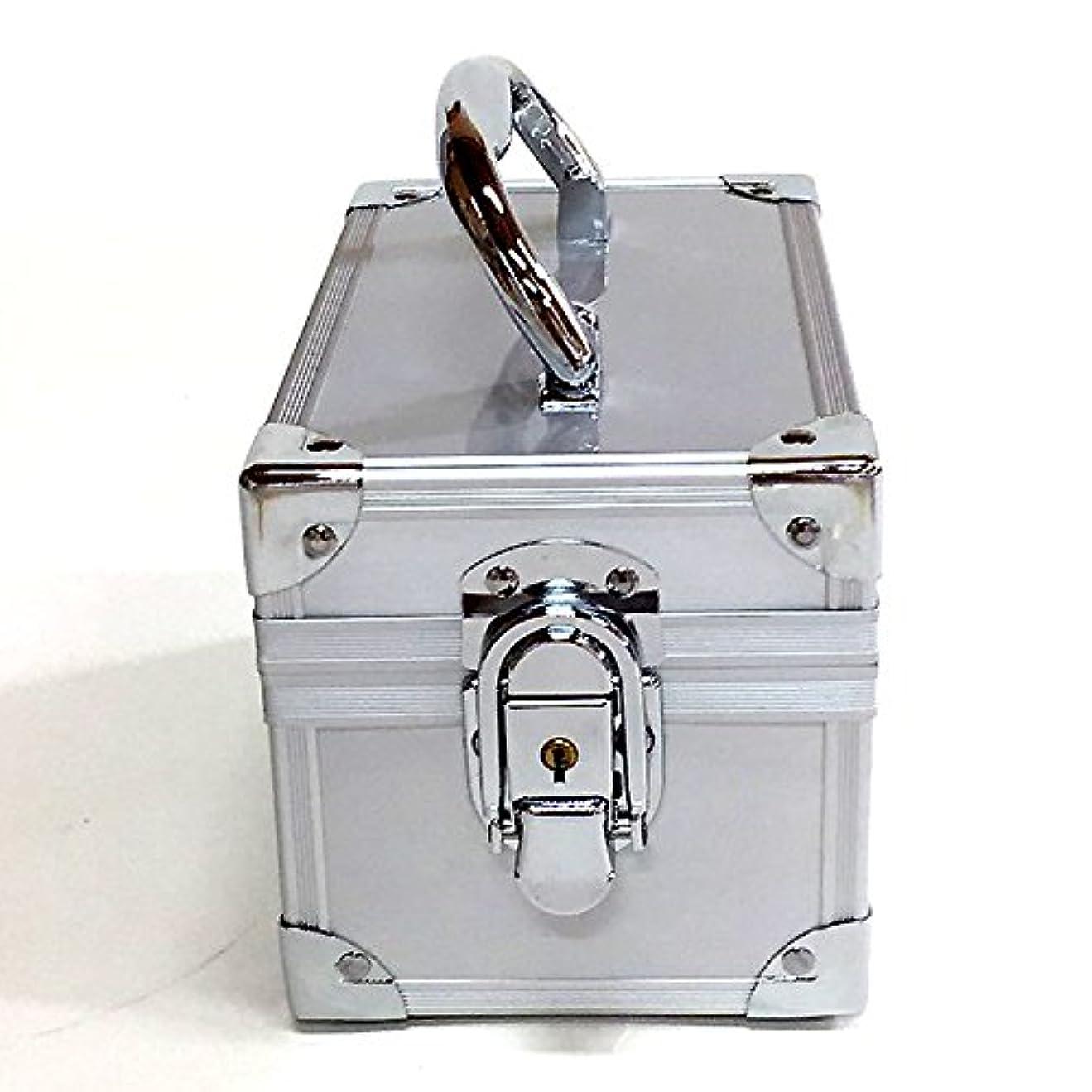 付録ブレイズ供給イケナガ(IKENAGA) メイクボックス ミニ B2401 [シルバー] 化粧品収納 鏡付き 工具箱 ツールボックス 小物入れ メイクポーチ