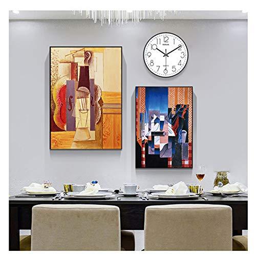 Chihie Künstlerische Geige von Picasso Abstrakte Leinwandbilder Wandkunstbilder im nordischen Stil Posterdrucke für Wohnzimmer Wohnkultur-40x60cmx2 无框