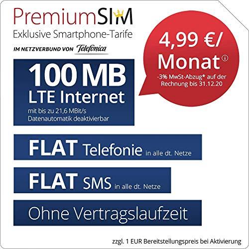 Handyvertrag PremiumSIM LTE XS - ohne Vertragslaufzeit (FLAT Internet 100 MB LTE mit max. 21,6 MBit/s mit deaktivierbarer Datenautomatik, FLAT Telefonie, FLAT SMS und EU-Ausland, 4,99 Euro/Monat)
