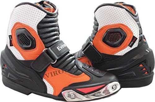 Botas color naranja de cuero, para motocicleta, de caña baja, de la marca Eviron.