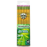 TICONDEROGA Pencils, Wood-Cased, Unsharpened, Graphite #2 HB Soft, Yellow, 24-Pack (13924)
