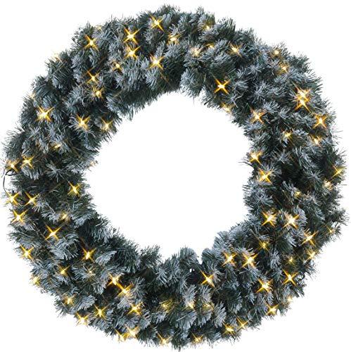 Best Season LED-dennenkrans met sneeuwdecoratie, verlicht ongeveer een diameter van 90 cm, 80 warmwit Pisello LED Outdoor, transformator karton 612-28