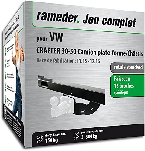 Rameder Pack, attelage rotule Standard 4 Trous livrée sans rotule + Faisceau 13 Broches Compatible avec VW Crafter 30-50 Camion Plate-Forme/Châssis (153609-05530-3-FR).