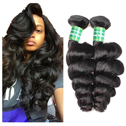 MSKAY-EXTENSION Extensions de Cheveux Brazilian Lâche Vague Virgin Hair 2 Bundles offres Cheveux Frisés Weave 200g épais Cheveux Extension Naturelle Couleur 1B, 20 inches