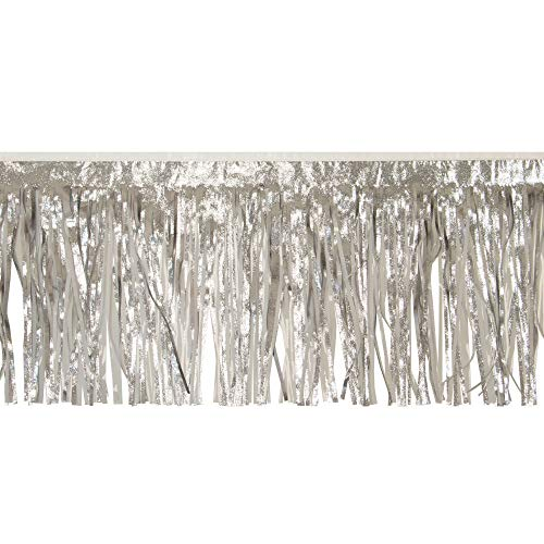 CC Home Furnishings 10' Silver and White Contemporary Decorative Party Fringe Skirt Garland