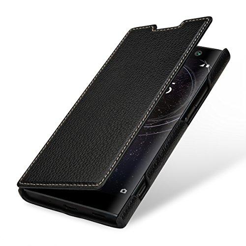 StilGut Book Type Leder-Hülle kompatibel mit Sony Xperia XA2, Schwarz