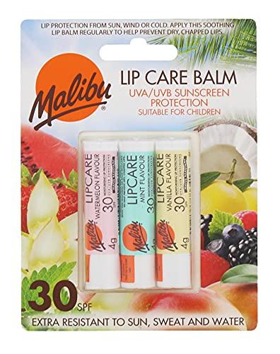 Malibu Sun, Wind and Sweat Resistant Lip Care Balm with SPF 30 Sun-Screen...