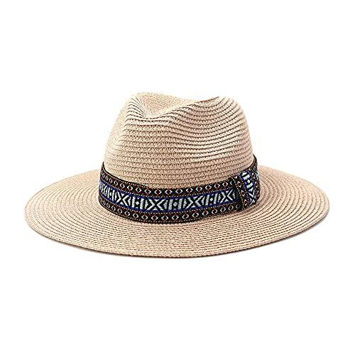Grigio Panama Cappello Estate Sun Cappelli per le Donne Beach Cappello di Paglia per le Signore Protezione UV Cap Chapeau Femme 2021 Fedora rosa Etichettalia unica