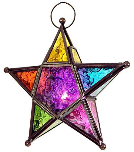 Guru-Shop Orientalische Glas Stern in Marrokanischem Design, Glas Laterne, Modell 3, Mehrfarbig, 20x20x5 cm, Teelichthalter & Kerzenhalter