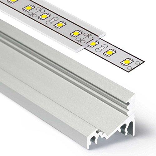 2m Aluprofil CORNER (CO) Ecke 2 Meter Aluminium Profil-Leiste eloxiert für LED Streifen - Set inkl Abdeckung-Schiene durchsichtig-klar mit Montage-Klammern und Endkappen (2 Meter transparent slide)