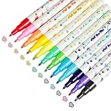 Outline Metallic Markers12 Colors Double Line Outline Pens Glitter Drawing Pens for Gift Card Making Scrapbooking DIY Art Crafts Birthday Christmas