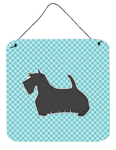 Caroline's Treasures Scottish Terrier Checkerboard azul impresión para colgar en la pared o puerta BB3769DS66, 15 x 15 cm