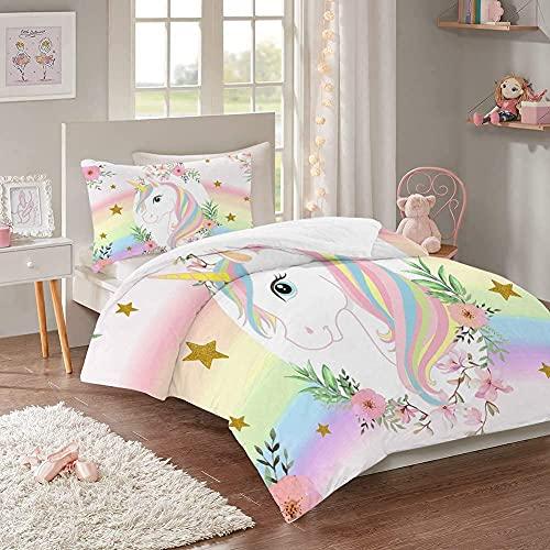 MUSOLEI Juego de funda de edredón con diseño de estrella de unicornio y arcoíris para niños, cama y funda de almohada, funda de edredón de flores rosas con cierre de acuarela
