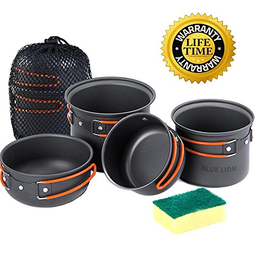 Camping Cookware Mess Kit, Lightweight Aluminum Cookware Cooking Pan