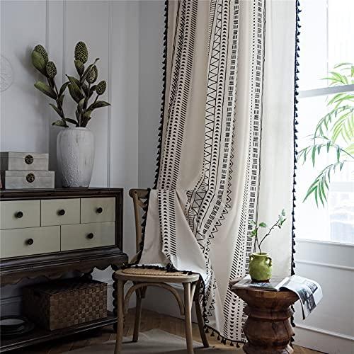 "Deeprove Boho Curtains 84 Inches Long, White Cream Cotton and Linen Bohemian Print Black Tassel, Geometric Semi-Blackout Window Panel Fringe Drape for Living Room, Rod Pocket, 1 Panel, 59""x84"""