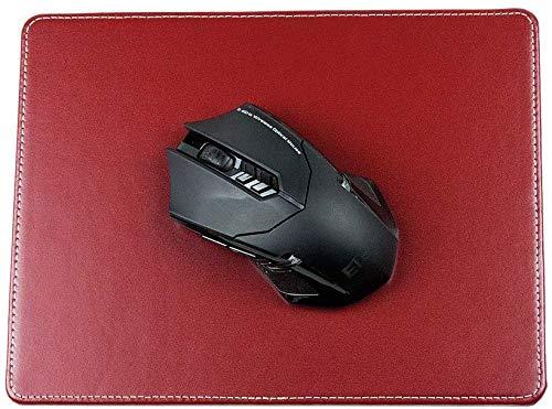 DELMON VARONE - Personalisierbares Mauspad aus Cambridge Top Grain Leder rot, Echtleder Mousepad mit rutschfester Rückseite aus Vlies, Elegante Computer Maus Unterlage für Büro und Gaming