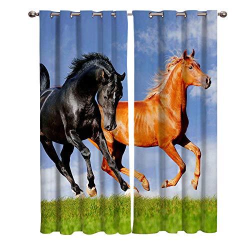 JNBGYAPS 3D Gedruckte Vorhänge Zwei Pferde Thermovorhang Verdunkelungsgardine Lichtundurchlässige Vorhang mit Ösen für Schlafzimmer Wohnzimmer Geräuschreduzierung2 x 117 x 137 cm