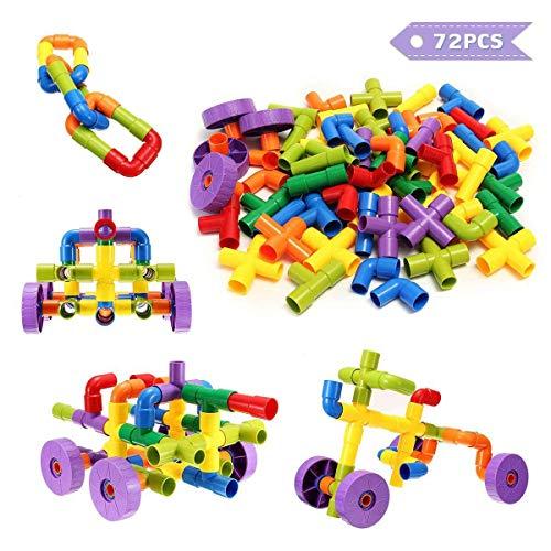 FUNTOK Tubation Costruzioni 72 Pezzi. Blocchi di Plastica Giocattoli di Puzzle plastica per Tubi di Costruzione con Giocattoli per Blocchi