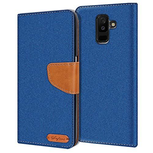 Verco Galaxy A6+ Hülle, Schutzhülle für Samsung Galaxy A6 Plus Tasche Denim Textil Book Hülle Flip Hülle - Klapphülle Blau