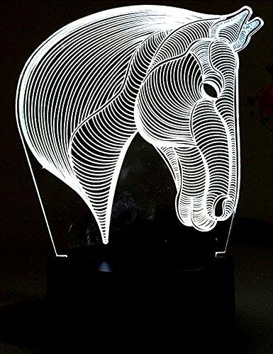 Lightingsky 3D Desk Lamps 7 Colors Touch Control Night Light USB Table Lighting (Horse Heard)