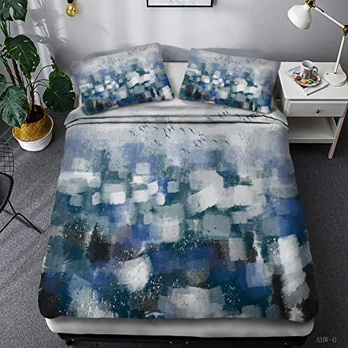 HYBWSO Funda nórdica Impresa en 3D Patrón Creativo Blanco Azul Gris Negro con Cierre de Cremallera, Funda de edredón de Microfibra Suave 260cmx240cm 2 Fundas de Almohada 50cmx75cm
