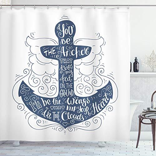 ABAKUHAUS Anker Duschvorhang, Doodle Marine-Motiv, Digital auf Stoff Bedruckt inkl.12 Haken Farbfest Wasser Bakterie Resistent, 175 x 240 cm, Blau & weiß