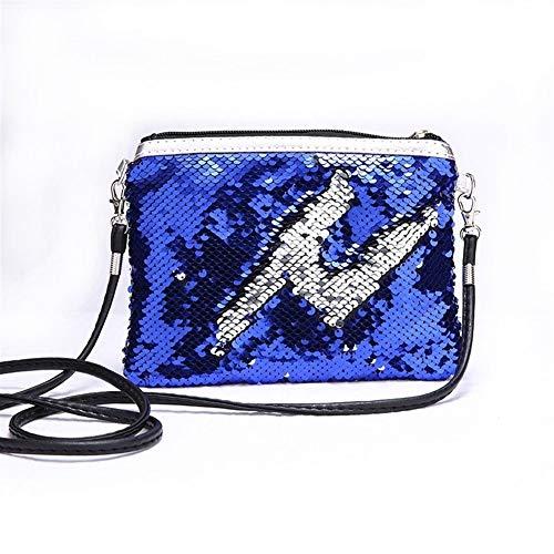 Portable Femmes Filles Sac Glitter Wallet Sequin cosmétiques carte Porte-Monnaie Pochette Maquillage Voyage Case Zipper Sac de rangement Pour le stockage (Color : Blue silver)