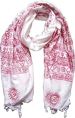 KVR OM AUM Krishna Buddha Ganesha Shiva yoga spiritual auspicious Pooja Hindu Religious Indian prayer scarf (White-Krishna-1)