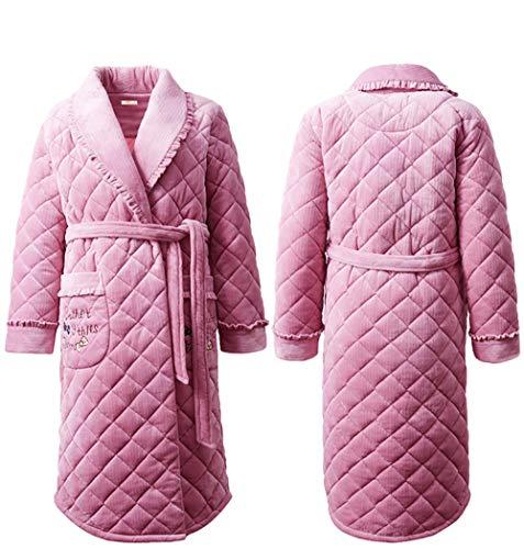 Bata de Lujo para Mujer,Albornoz Largo y Esponjoso para Mujer,Camisón Grueso y cálido, camisón Acolchado-Rosa_XL