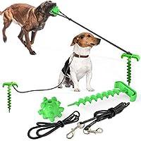 犬用係留ステッキ1本とケーブル2本と遊びボール1個セット 繋留器具 しつけ用 耐荷重 (グリーン)