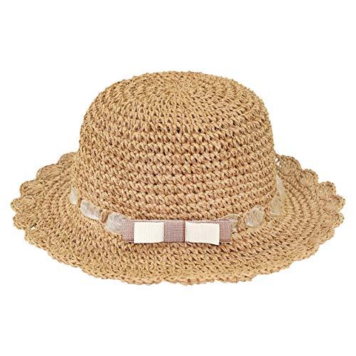 ANIMQUE Kinder Mädchen Sonnenhut Strohhut Faltbar Sommerhut UV Schutz Frühling Sommer Urlaub Strandhut Süß und Lieblich Khaki, Kopfumfang 52cm L