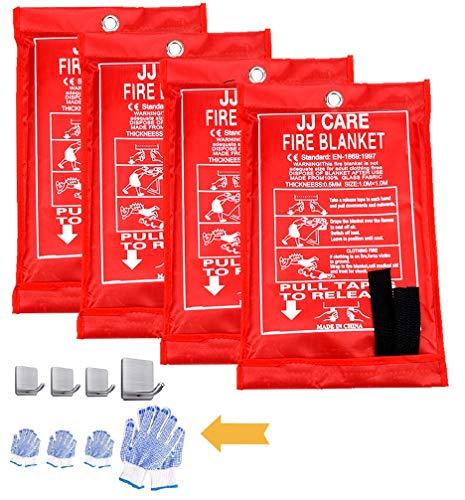 JJ Care Fire Blanket (4 Pack) Fire Fighting Fire Safety Kit Fiberglass cloth (40