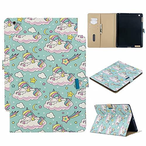 TTNAO Custodia per iPad 2 3 4 (Old Model) Premium Cover Auto Wake Sleep Cover Pelle PU Protettiva Caso Slot Carte Stand Supporto Case,Stella unicorno