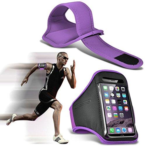 I-Sonite - Funda para Alcatel (Ajustable, Resistente al Sudor y al Agua, para Deporte, Fitness, Running, Ciclismo, Gimnasio, Brazalete), Color Negro Morado Morado Alcatel Ideal