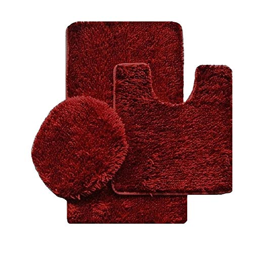 Simple Elegance 3 Piece Shiny and Shaggy Chenille Bath Rug Set with Anit-Slip Backing: 1 Bath Rug (18' x 30'), 1 Contour Mat (18' x 18') and 1 Toilet Seat Cover (APX 18' x 18') - Burgundy