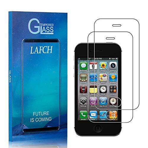 LAFCH Display Schutzfolie Kompatibel mit iPhone 4S / iPhone 4, 2 Stück 9H Härte Bubble Free Hüllenfreundlich HD Klar Gehärtetem Glas Displayschutzfolie für iPhone 4S / iPhone 4