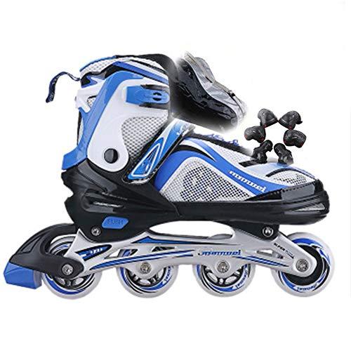 Zapatos de Patinaje Velocidad Patines en Línea Ajustable para Niños, una Hilera para Adultos Deportes para Recreación Física Niño y Niña Patines de Ruedas Black-42 to 45