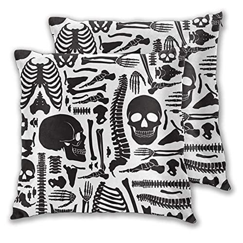 Funda de cojín cuadrada de 45 x 45 cm, juego de 2 piezas, tipos de diferentes peces, patrón de dibujos animados, funda de almohada decorativa para sofá, silla, cama, decoración del hogar y oficina