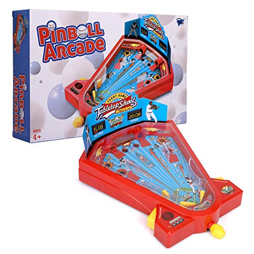 Point Games Pinball Arcade - Miniature Tabletop Baseball Board for Kids - Self-Contained & Safe Arcade Toy - Small Baseball Table Game- Pinball Machine for Kids - Ideal Toy for Boys and Girls