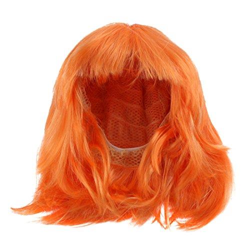 Sourcingmap Perruque de cosplay Carré court avec frange Orange
