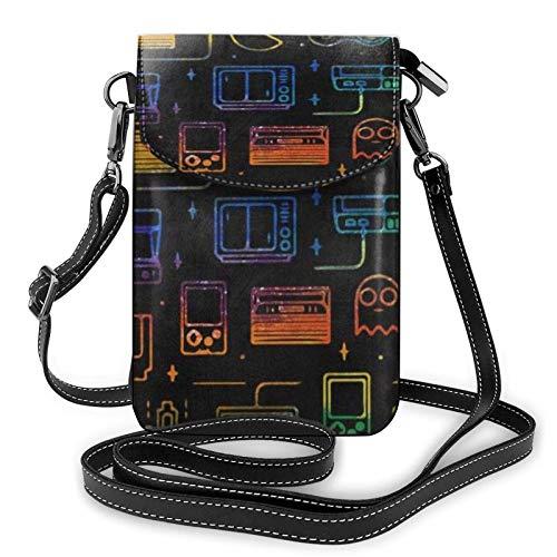 Modelo de juego de videojuego impreso, pequeño bolso de mano de teléfono móvil, bolso pequeño bandolera con bolsillo para teléfono móvil