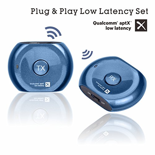 Avantree Lock Portable Pre-paired aptX LOW LATENCY Bluetooth Transmitter and Receiver Audio Adapter Set for Outdoor Use, TV Watching, Headphones, Speakers, Plug & Play No Delay, 3.5mm AUX & RCA - Blue