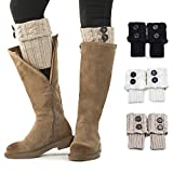Women Boot Knit Cuffs,Short Crochet Leg Warmers, Variety of Styles Winter Warm Cuff Socks 3 Pairs by REDESS