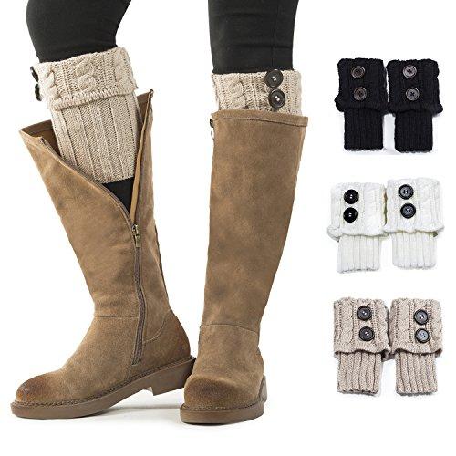 Women Boot Knit Cuffs,Short Crochet Leg Warmers, Variety of Styles Winter Warm Cuff Socks 3 Pairs by REDESS