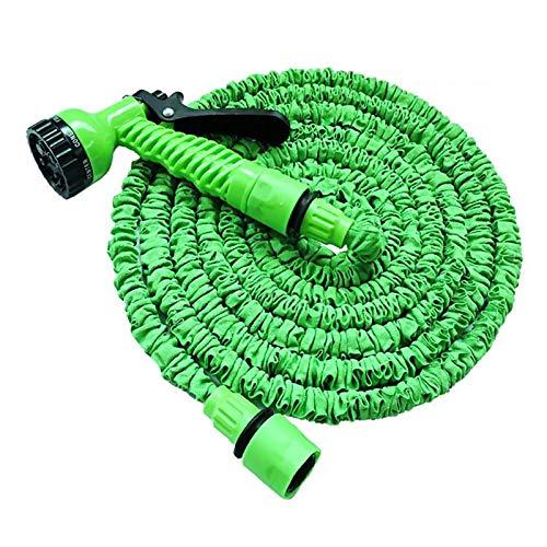 Domybest - Manguera de jardín extensible con pistola de 7 modos de pulverizador, manguera de riego flexible de alta presión, con junta para jardinería y lavado de coche