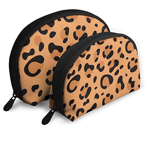 XCNGG Bolsa de almacenamiento de manchas de leopardo rojo naranja 2 piezas Bolsas portátiles de concha Una bolsa de maquillaje cosmética grande y una pequeña