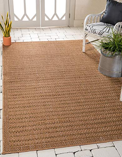 Unique Loom Outdoor Border Collection Striped Casual Transitional Indoor and Outdoor Flatweave Light Brown  Area Rug (4' 0 x 6' 0)