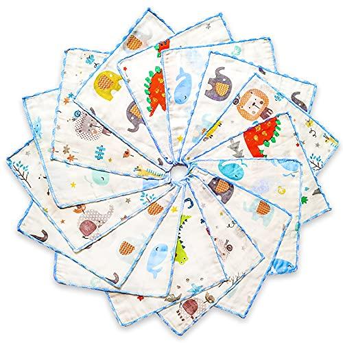 Set Asciugamani Neonato In Mussola (15 Pz) | Asciugamani Da Bagno Per Bambini In Cotone Naturale | Asciugamano Morbido Viso X Bimbi | Panno Mussola Neonato Idea 22x22cm