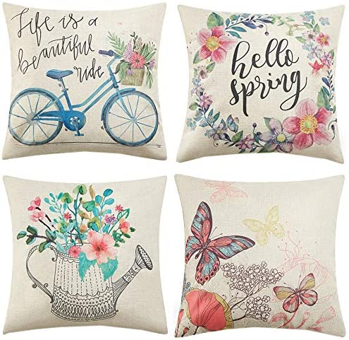 Anickal Spring Pillow Covers 20x20 Inch Set of 4 for Spring Decorations Hello Spring Wreath product image