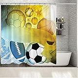 fptcustom Baseball Football Basketball Rugby Sports Ballons sur Fond Jaune Bleu Amusant Artistique Imprimé Rideau De Douche 180X200Cm avec Crochet